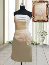 Lovely Mini Length Champagne Prom Evening Gown Satin Sleeveless Ruching and Hand Made Flower