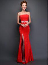 Mermaid Sleeveless Beading Lace Up Prom Dresses