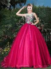 High Class Scoop Hot Pink Sleeveless Brush Train Appliques and Belt Quinceanera Gowns
