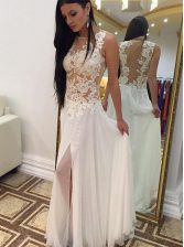 Dazzling Scoop Sleeveless Appliques Zipper Prom Party Dress