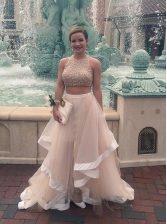 Decent Scoop Champagne Sleeveless Tulle Zipper for Prom and Party