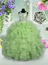 Scoop Sleeveless Organza Child Pageant Dress Ruffles and Sequins Zipper