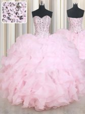 Decent Sweetheart Sleeveless Ball Gown Prom Dress Floor Length Beading and Ruffles Baby Pink Organza