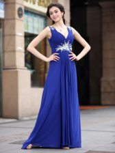 Sleeveless Chiffon Floor Length Zipper Prom Dresses in Blue with Beading and Appliques and Ruching