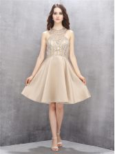 Beading Prom Gown Champagne Criss Cross Sleeveless Knee Length