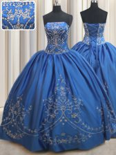 Unique Royal Blue Strapless Lace Up Beading and Embroidery Sweet 16 Dresses Sleeveless