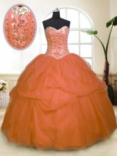 Orange Ball Gowns Tulle Sweetheart Sleeveless Sequins and Pick Ups Floor Length Zipper Quinceanera Dresses