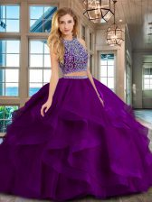 Scoop Sleeveless Backless Floor Length Beading and Ruffles Quinceanera Gown