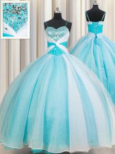 White and Blue Spaghetti Straps Lace Up Beading Quinceanera Dresses Sleeveless