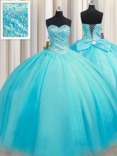 Unique Puffy Skirt Beading Quince Ball Gowns Baby Blue Lace Up Sleeveless Floor Length