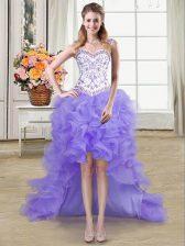 Flirting Straps Lavender Sleeveless Beading and Ruffles High Low Dress for Prom