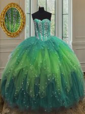 Simple Sequins Floor Length Multi-color 15 Quinceanera Dress Sweetheart Sleeveless Lace Up