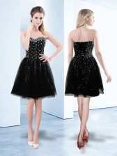 Decent Black Prom Evening Gown Prom and Party with Beading and Sequins Sweetheart Sleeveless Lace Up