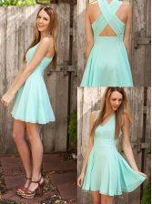Exquisite Pleated V-neck Sleeveless Criss Cross Prom Dresses Apple Green Chiffon