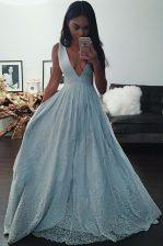 Light Blue A-line Taffeta V-neck Sleeveless Beading and Lace Floor Length Zipper Prom Dresses