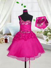 Fuchsia A-line Sweetheart Sleeveless Organza Knee Length Lace Up Beading and Hand Made Flower Pageant Gowns For Girls