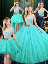 Hot Sale Four Piece Scoop Floor Length Lace Up Vestidos de Quinceanera Blue for Military Ball and Sweet 16 and Quinceanera with Lace and Sequins