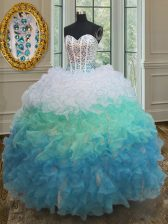 Pretty Sleeveless Beading and Ruffles Lace Up Sweet 16 Quinceanera Dress