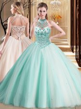 Deluxe Aqua Blue Halter Top Neckline Beading Quince Ball Gowns Sleeveless Lace Up