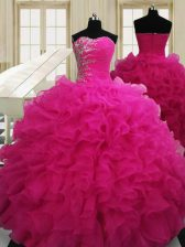 Beauteous Hot Pink Sweet 16 Quinceanera Dress Military Ball and Sweet 16 and Quinceanera with Beading Sweetheart Sleeveless Zipper