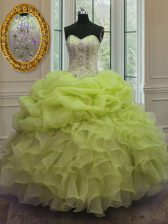 Organza Sweetheart Sleeveless Lace Up Beading and Pick Ups Sweet 16 Dresses in Yellow Green