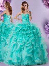 Suitable Sweetheart Sleeveless Lace Up Quinceanera Dress Aqua Blue Organza