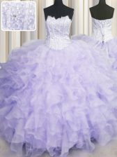 Lavender Ball Gowns Scalloped Sleeveless Organza Floor Length Lace Up Beading and Ruffles Sweet 16 Quinceanera Dress