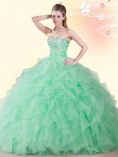 High Quality Floor Length Apple Green Quinceanera Dress Sweetheart Sleeveless Lace Up