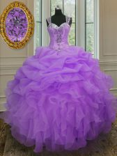 Pretty Straps Floor Length Ball Gowns Sleeveless Lavender Vestidos de Quinceanera Zipper