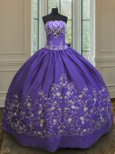 Purple Ball Gowns Satin Strapless Sleeveless Embroidery Floor Length Lace Up Quinceanera Dress
