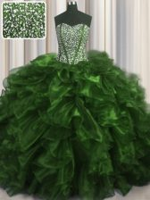 Visible Boning Olive Green Lace Up Quinceanera Dresses Beading and Ruffles Sleeveless With Brush Train