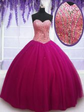 Trendy Hot Pink Sweetheart Neckline Beading Quinceanera Dresses Sleeveless Lace Up