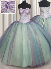 Glorious Multi-color Lace Up Sweetheart Beading and Sequins Quince Ball Gowns Tulle Sleeveless