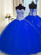 Royal Blue Tulle Backless Sweetheart Sleeveless Floor Length Sweet 16 Dresses Beading and Sequins