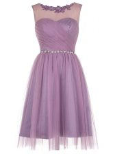 Scoop Lavender Sleeveless Beading and Appliques Knee Length Prom Gown