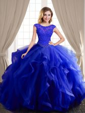 Royal Blue Quinceanera Gowns Military Ball and Sweet 16 and Quinceanera with Beading and Appliques and Ruffles Scoop Cap Sleeves Brush Train Lace Up