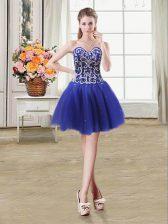Sequins Mini Length Royal Blue Evening Dress Sweetheart Sleeveless Lace Up