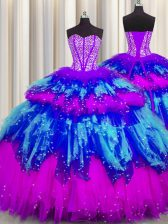 Fashionable Bling-bling Visible Boning Multi-color Sweetheart Neckline Beading and Ruffles and Ruffled Layers and Sequins Sweet 16 Quinceanera Dress Sleeveless Lace Up