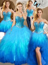 Four Piece Multi-color Lace Up Ball Gown Prom Dress Beading and Ruffles and Sequins Sleeveless Floor Length