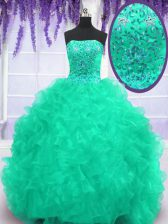 With Train Turquoise Ball Gown Prom Dress Strapless Sleeveless Brush Train Lace Up