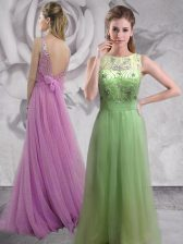Excellent Lilac Bateau Neckline Beading Prom Party Dress Sleeveless Backless