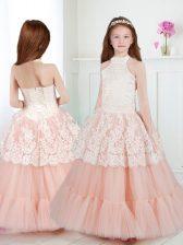 New Arrival A-line Flower Girl Dresses White and Peach Halter Top Tulle Sleeveless Floor Length Zipper