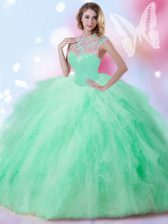 Sleeveless Floor Length Beading and Ruffles and Sequins Zipper 15 Quinceanera Dress with Apple Green