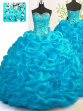 Attractive Sweetheart Sleeveless Organza Quince Ball Gowns Beading and Ruffles Brush Train Lace Up