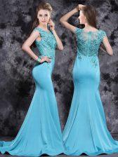 Mermaid Aqua Blue Scoop Zipper Appliques Prom Dresses Brush Train Cap Sleeves