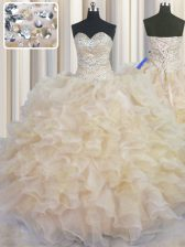 Modest Sleeveless Lace Up Floor Length Beading and Ruffles Sweet 16 Dresses