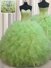 Elegant Yellow Green Ball Gowns Organza Sweetheart Sleeveless Beading and Ruffles Floor Length Lace Up Quinceanera Gowns