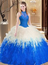 Backless Tulle Sleeveless Floor Length Quinceanera Gown and Lace and Appliques and Ruffles