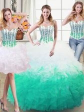 Three Piece Floor Length White and Green Quinceanera Gown Organza Sleeveless Beading and Ruffles
