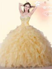 Floor Length Ball Gowns Sleeveless Gold Quince Ball Gowns Lace Up